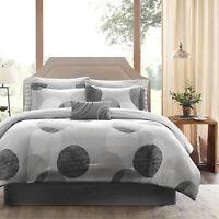 BEAUTIFUL MODERN GREY BLACK WHITE STRIPE BED IN BAG COMFORTER SET & SHEETS NEW ~