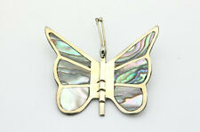 Sterling Silver .925 Large Abalone Butterfly Detailed Pin Broach 7.6g  #1548