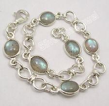 "925 SOLID Silver LABRADORITE Multi Stone CUTE KNOT ADJUSTABLE Bracelet 8"""