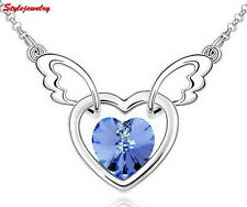 18k White Gold Filled Ocean Blue Crystal Heart Angle Wing Necklace N76