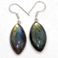 """Fiery Labradorite 925 Sterling Silver Plated Earrings 1.5"""" GW"""