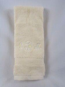"Company Store Legends Egyptian Cotton Hand Towel Ivory Mono ""CMB"" #675M VH57"