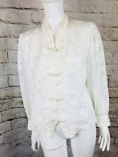 Ladies Mandarin Style Chinese Japanese White Blouse Top Shirt Size UK14 approx