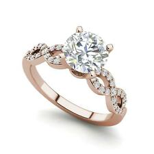 Infinity Pave 1.1 Carat SI1/F Round Cut Diamond Engagement Ring Rose Gold
