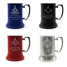 More details for personalised engraved masonic steel tankard masons birthday award gift idea