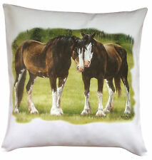 Horse Equestrian Shire Clydesdale Themed Cotton Cushion Cover - Perfect Gift