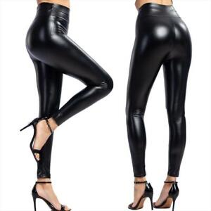 Sexy Leder Optik Leggings Leggins Hose Hohe Taille XS S M L XL XXL