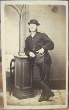 CDV Portrait English MAN w Bowler Hat Striped Pants Carte de Visite 1870s Photo