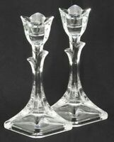 "Set of 2 (Pair) Vintage Crystal Tulip Candlestick Holders  7-7/8"" Tall Flower Sh"