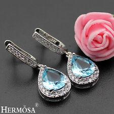 Design 925 Sterling Silver Earrings 1 1/4'' Cute White & Blue Topaz Hermosa New