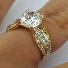 3 carat 14k Yellow Gold Round man made diamond Engagement Wedding Ring S 5 6 7