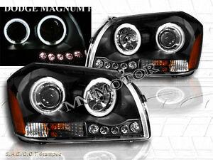 05-07 DODGE MAGNUM CCFL TWIN HALO PROJECTOR HEADLIGHTS BLACK W/ LED