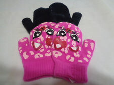 2 Pairs - WonderKids Toddler Girls Warm Gloves Mittens - Soft - Pink & Black