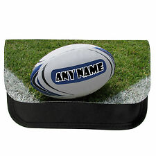 PERSONALISED RUGBY BALL SCHOOL PENCIL CASE / MAKE UP BAG BIRTHDAY XMAS GIFT