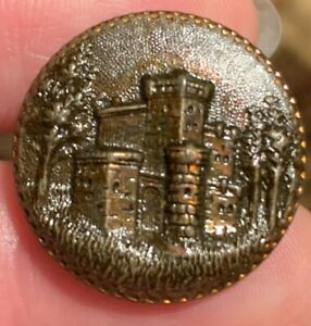 """Antique Brass Architecture Picture Button Castle in a forest with Tint approx 1"""""""