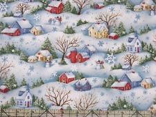 Benartex Snow Show Winter Villages Snowman Fabric