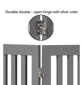 Freestanding Dog Gate Foldable Pet Gate Grey 36in High 80 Inch Long