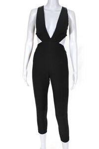 Aqua Womens Sleeveless V Neck Waist Cutout Jumpsuit Black Size 0
