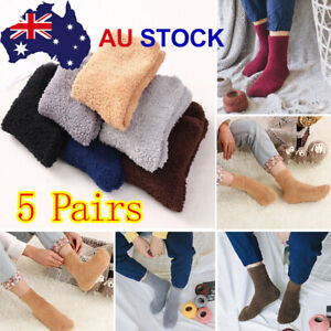 5 Pairs Extremely Cozy Socks Women Men Winter Warm Sleep Bed Floor Home Fluffy E