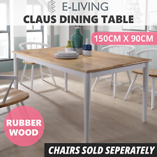 Claus Dining Table Solid Timber Furniture Natural Oak White - 1.5m 6 Seater