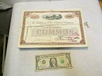 269 - 1950's Baltimore & Ohio Railroad Common Stock Certificate w String Tie NR