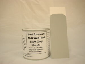1 x 250ml Matt Light Grey Heat Resistant Wall Paint For Wood Burner Stove Alcove