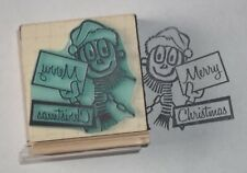 Mr Zip Santa's Helper Merry Christmas Mailman/Postal Carrier rubber stamp