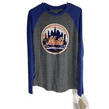 MLB New York Mets Cooperstown Long Sleeve TShirt Mens Size Medium Gray Blue