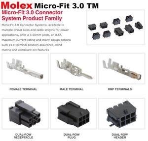Molex 2, 4, 6, 8, 10 Pins Male & Female Housing w/ Pins 20-24 AWG Micro-Fit 3.0™