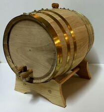 Premium Wooden Oak 2L Barrel-BRASS HOOP-Wine,Port,Rum,Whisky-FREE TEXT ENGRAVING