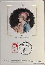 Yt 2773  FRANCE  Carte Postale Maximum  L AN 1 DE LA REPUBLIQUE   1992