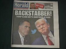 2019 OCTOBER 22 BOSTON HERALD NEWSPAPER-TRUMP SLAMS MITT ROMNEY ATTACKS- NP 4230