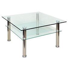 Table basse en verre Sécurit 10 mm 80 x 80 cm Pieds en acier NOUVEAU