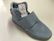 Adidas Tubular Invader Strap Hi-Top Shoes Men's Size 9 Grey Suede