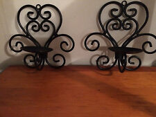 set of two Black Cast Iron~Scroll/Swirl~Pillar Candle Wall Sconce/Holder
