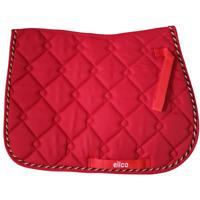 Elico Diamond Quilt Saddlecloth Saddle Pad - Rope Binding - Red - Pony Full