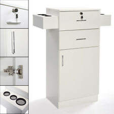 White Locking Beauty Salon Storage w/Hair Dryer Holder Cabinet Stylist Equipment