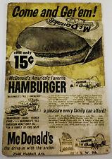 MCDONALDS FAST FOOD RESTAURANT 15¢ HAMBURGER DES MOINES IA IOWA HEAVY METAL SIGN