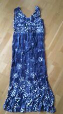 H&M blue and white floral print belted viscose maxi dress UK 12 v-neck