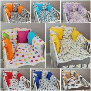 8 pc cot bed bedding sets PILLOW BUMPER + CASES blue grey pink ANIMALS FLOWERS
