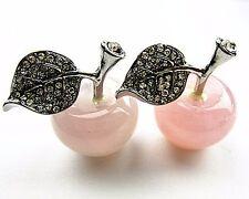 2PCS 30x25mm rose quartz carved apple furnishing articles Vk6588