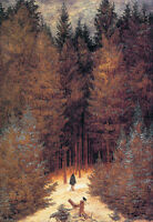 Oil painting caspar david friedrich - the chasseur in the woods in autumn canvas