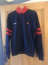 Ellesse Tracksuit Top UK Size Medium Blue Red Football Causals 80s Retro Vintage