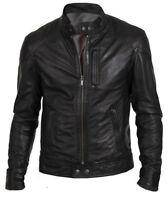 Men's Designer Biker Hunt Stylish Black Leather Jacket Plus Size Available