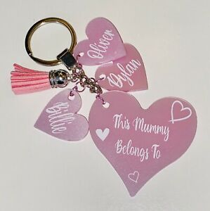 Mummy Belongs To personalised Pink Glitter keepsake Keyring Christmas Birthday