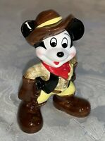 Vintage Disney Mickey Mouse Sheriff Cowboy Ceramic Figurine Japan -Free Shipping