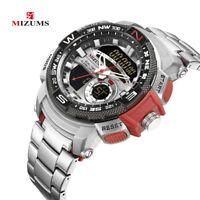 MIZUMS Fashion Sport Stainless Steel Digital Analog Quartz Wristwatch Mens Watch