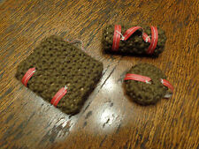 VINTAGE BARBIE SIZED 3 PC HOMEMADE KNITTED LUGGAGE SET CUTE!