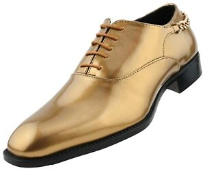 Men's Oxfords, Shiny Dress Shoes with Heel Chain, Mens Patent Plain Toe Oxford