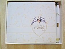 VINTAGE HALLMARK WEDDING GUESTS BOOK WITH PEN *NEW IN BOX*PADDED COVER*VERY RARE